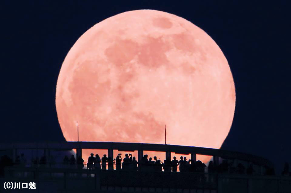 ストロベリームーン【月景写真】